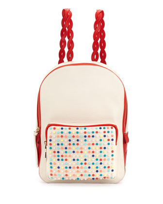 Valou Spiked Calfskin Backpack, Multicolor
