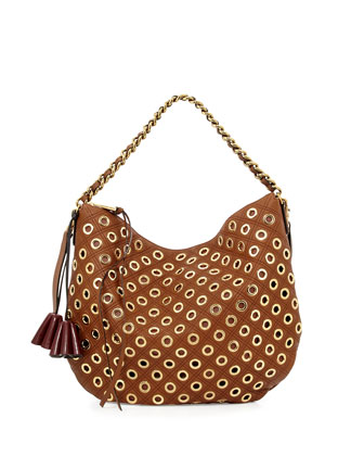 Nomad Quilted Grommet Hobo Bag, Brown