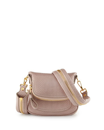 Jennifer Mini Python Crossbody Bag, Neutral