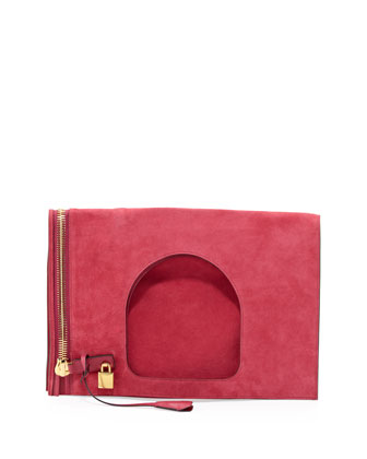Alix Suede Padlock & Zip Shoulder Bag, Hot Pink