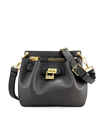 Small Lock-Front Crossbody Bag, Black