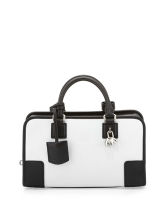 Amazona 28 Panda-Charm Satchel Bag, White/Black
