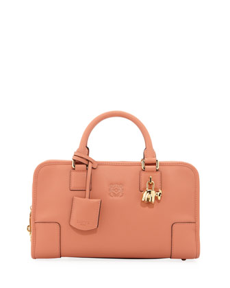Amazona 28 Bull-Charm Satchel Bag, Peach