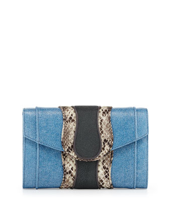 Herzog Python Clutch Bag, Blue