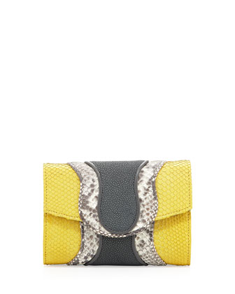 Jolie Python & Stingray Clutch Bag, Yellow