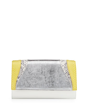 Leather & Python Flap Clutch Bag, Yellow