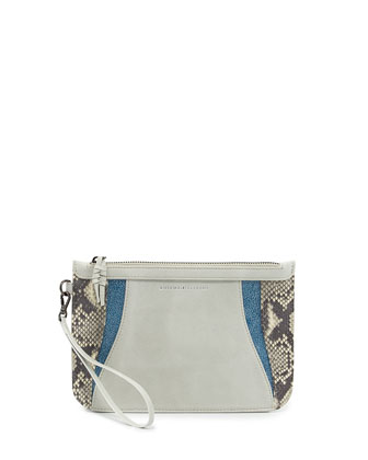 Python & Leather Zip Pouch Wristlet, White