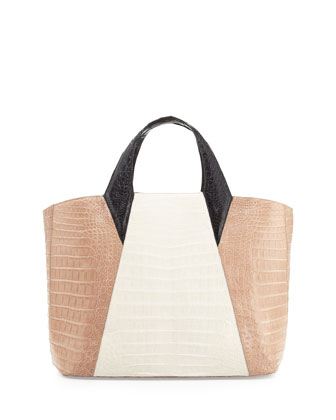 Colorblock Crocodile Tote Bag