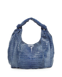 Crocodile Hobo Bag, Blue