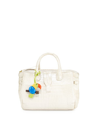 Christina Small Crocodile Satchel Bag with Toucan, White