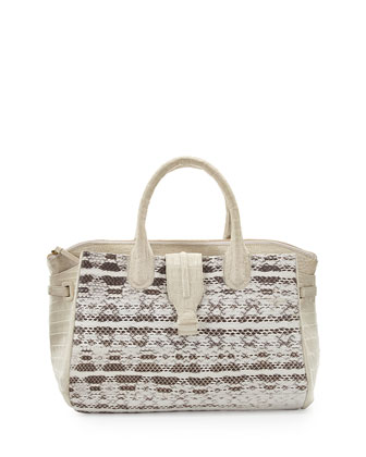 Christina Medium Crocodile Satchel Bag, Neutral