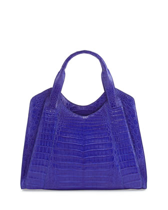 Crocodile Medium Satchel Bag, Blue