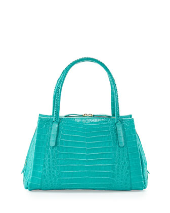 Crocodile Small Tote Bag, Turquoise
