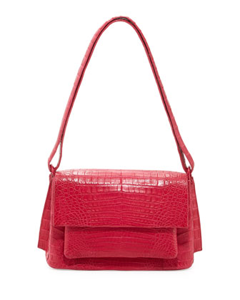 Crocodile Shoulder Bag, Pink