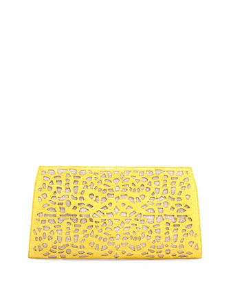 Straw Raffia Caiman Clutch, Yellow