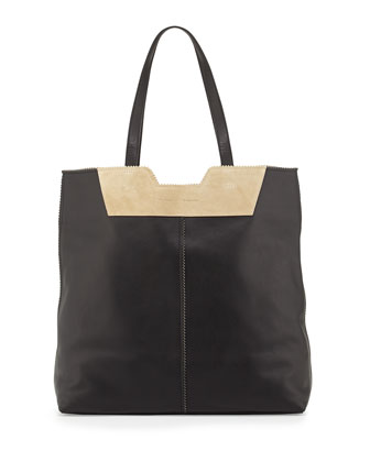 Paper Bag Leather Tote, Black/Brown
