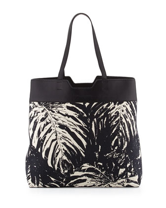 Paper Bag Printed Canvas Tote, Black