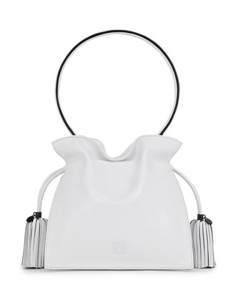 Flamenco 22 Calfskin Drawstring Bag, White