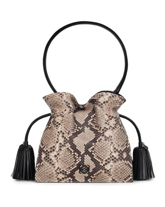 Flamenco 22 Drawstring Python Bag