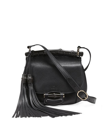 Nouveau Leather Shoulder Bag, Black