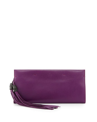Nouveau Leather Tassel Clutch Bag, Purple