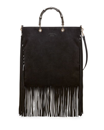 Bamboo Suede Fringe Shopper Tote Bag, Black