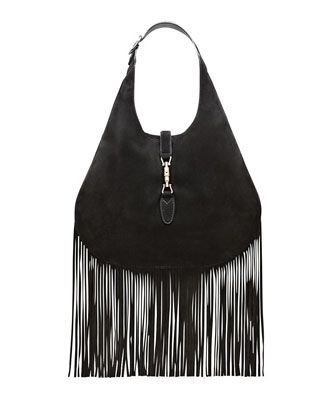 Nouveau Suede Fringe Hobo Bag, Black