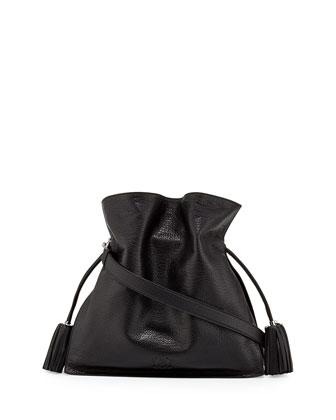 Flamenco 36 Calfskin Drawstring Bag, Black