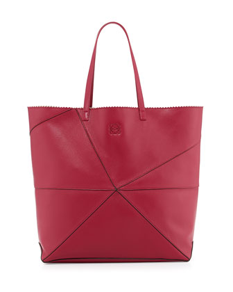 Lia Origami Leather Tote Bag, Red