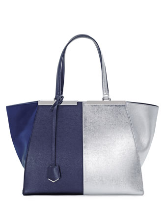 Trois-Jour Grande Leather Tote Bag, Dark Blue/Silver