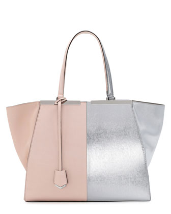 Trois-Jour Grande Leather Tote Bag, Pink/Silver
