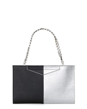 Grande Bicolor Clutch Bag, Gray/Black