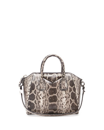 Antigona Small Anaconda Satchel Bag, White/Black