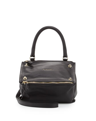 Pandora Small Sandy Bolt-Trim Satchel Bag, Black