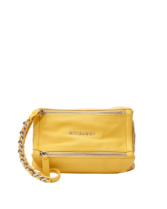 Pandora Leather Wristlet Bag, Yellow
