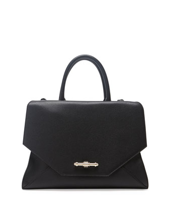 Obsedia Top-Handle Flap Bag, Black