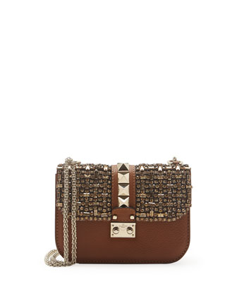 Small Crystal Lock Shoulder Bag, Tan