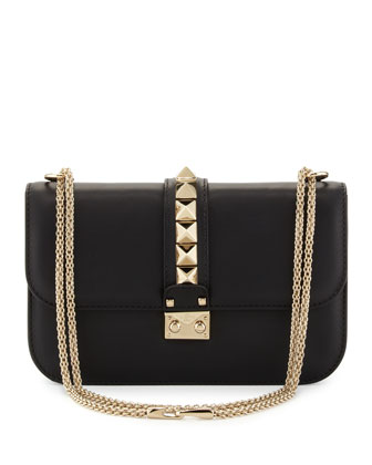 Rockstud Medium Flap Shoulder Bag, Black