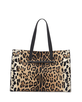 Rockstud Calf Hair Medium Shopping Tote Bag, Leopard