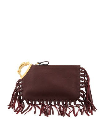 Gryphon Finger-Fringe Clutch Bag, Dark Red