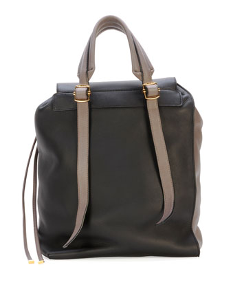 Bicolor Leather Shoulder Bag, Navy/Cream