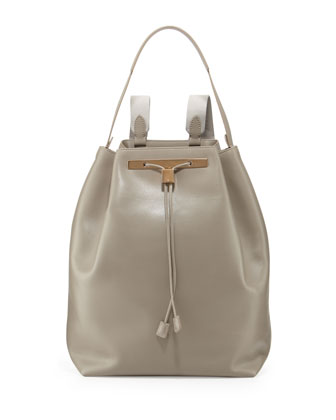 Leather Drawstring Hobo/Backpack, Gray