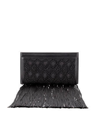 Woven Wrap Clutch with Fringe, Black