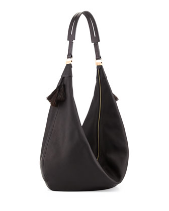 Sling 15 Horsehair Tassel Hobo Bag, Black