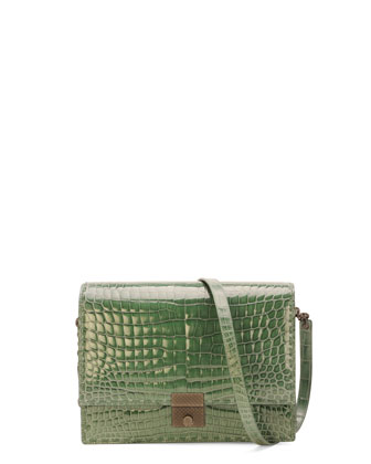 Crocodile Flap-Top Accordion Shoulder Bag, Green