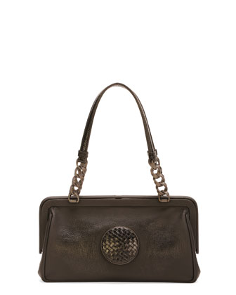 Woven-Circle Frame Top Satchel Bag, Black