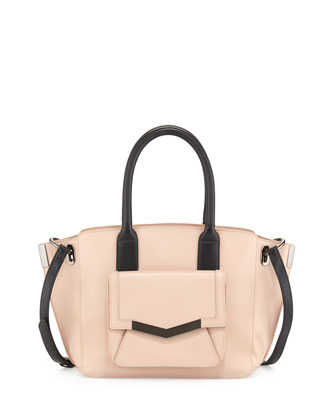 Jo Mini Leather Tote Bag, Pink/Black