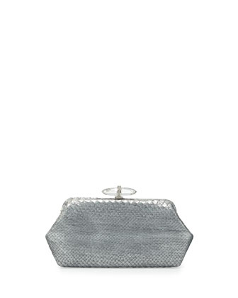 Whitman Metallic Python Clutch Bag, Silver