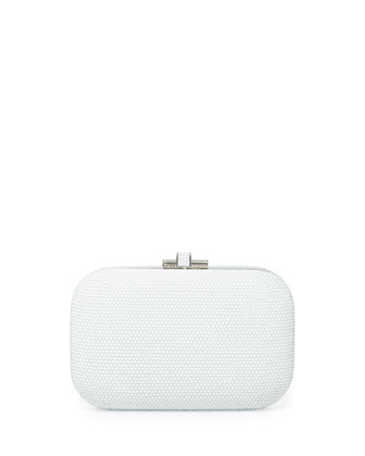 Crystal Slide-Lock Clutch Bag, Silver/Chalk