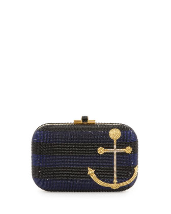 Anchors Away Slide-Lock Crystal Clutch Bag